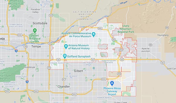 This is a map showing Alpha Movers service area in Mesa.