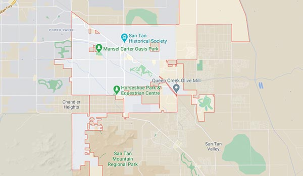 This is a map showing Alpha Movers service area in Queen Creek.