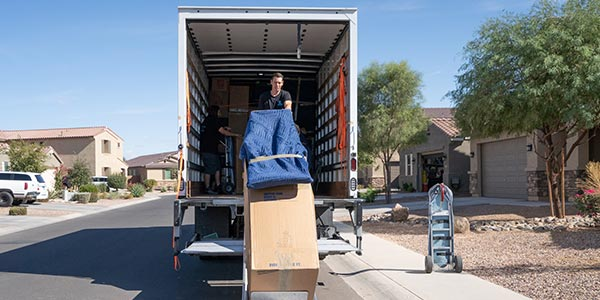 Unloading a moving truck